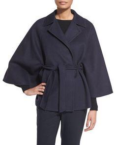 Wool-Blend Lapel Tie Cape Coat, Ultramarine by Max Mara at Bergdorf Goodman.