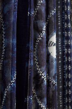 ... NWT Anthropologie Spliced Shibori Curtains CUrtain Panels Set 4 panels  96