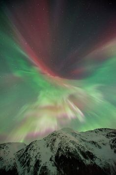 Aurora borealis over Portage Valley, Chugach National Forest, Alaska, in mid-March.