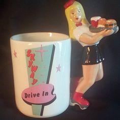 Mug Carhop Skyway Drive-in Roller Skates Coffee Cup 1978 Vintage Ceramic Mug  #IronworksInc