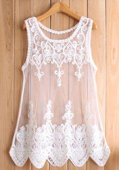 White Plain Sleeveless Lace Vest
