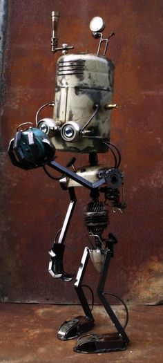Steampunk Robot contemplating the meaning of life, by JOh' Sculptor