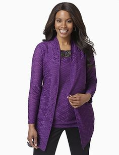 Textured jacket features raised slices of fabric for a ripple-like effect. Open-front style pairs perfectly with our matching Ripple Tank. Complete with long, fitted sleeves. Catherines jackets are styled exclusively for the plus size woman. http://www.planetgoldilocks.com/womens_clothing.htm http://www.planetgoldilocks.com/womens_clothing.htm  #clearance