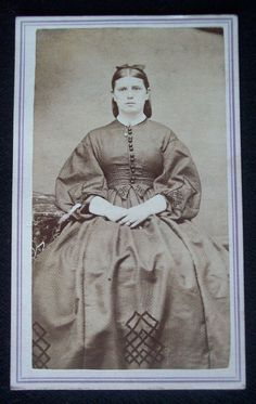 If anyone has any info on this CDV, please comment on this pin.  I'd love to research her.  My beginning searches turned up Rochester, VT as the location of the original CDV.  Thanks!  -- S.G. .....  CIVIL WAR ERA 1860'S Fashion Photo