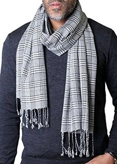 Anika Dali Men's Classic Black and Grey Check Plaid Scarf with Tassels - Soft…