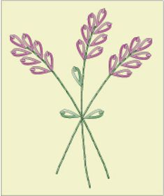 Embroider a set of napkin with a lavender motif in hand embroidery. I've used variegated floss in this simple design, which uses just two basic surface embroidery stitches.: Lavender Hour Embroidered Napkin Pattern