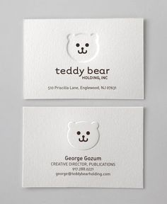 Adorable Bear Business Cards using Letterpress! Business Card Maker, Business Branding, Business Card Logo, Business Card Design, Corporate Design, Branding Design, Identity Branding, Visual Identity, Personal Identity