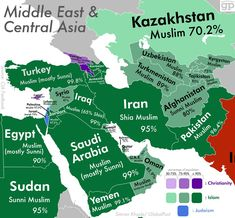 This map of the Middle East shows what religion each of the countries practice. It even includes the two types of Islam (Sunni and Shia) Ap Human Geography, Teaching Geography, World Geography Map, Travel Map Pins, Travel Maps, World Religions, World Cultures, Middle East Culture, Historical Maps