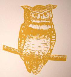 Great Horned Owl, Linocut