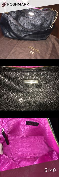 BLACK LEATHER KATE SPADE WITH SHIMMER 10/10 condition also gently used. No stains or scrapes. Black leather contains sparkly shimmer throughout purse. All pink inside. Just the perfect size purse for everyday🖤💓 kate spade Bags Shoulder Bags