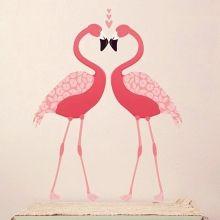 Wandsticker Pink Flamingos von love mae
