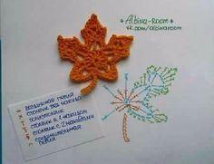 Szerintem sokunknak megtetszett ez a. Crochet Leaf Patterns, Crochet Vest Pattern, Crochet Leaves, Crochet Motifs, Crochet Dishcloths, Crochet Diagram, Crochet Chart, Crochet Flowers, Crochet Diy