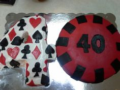 40th Birthday Poker Cake Birthday Cake For Him, 40th Birthday, Birthday Cakes, Poker Cake, Poker Party, Playing Card, 30th, Projects To Try, Cupcakes