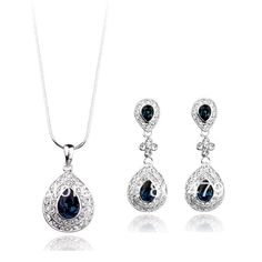 Free Shipping 18K White Gold Plated Crystal Sapphire cz Stud Earring & Necklace Fashion Lady Elegant Jewelry Set-in Jewelry Sets from Jewelry on Aliexpress.com