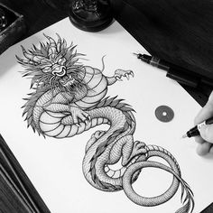 5 Artists Shared Their Process Of How To Draw A Dragon Step By Step In Totally Different Styles! Filled With Tips, Tricks and Dragon Books. Dragon Tattoo Sketch, Dragon Sleeve Tattoos, Dragon Tattoo Designs, Tattoo Sketches, Dragon Drawings, Dog Tattoos, Body Art Tattoos, Tattoos For Guys, Tatoos