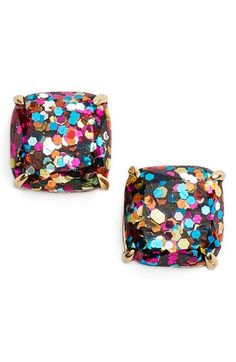 kate spade new york mini small square stud earrings available at #Nordstrom $32 Color: Multi Glitter