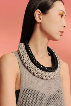 mix knot bib  handmade necklace realized with sailing rope, recycled jersey and satin rope