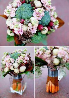 EyeSpy Weddings//vegetable rehearsal dinner bouquet by La Petite Fleur
