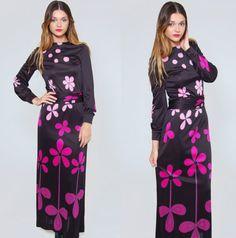 Vintage 60s 70s FLORAL Maxi Dress Black LOUIS FERAUD Gradient Floral Dress by LotusvintageNY