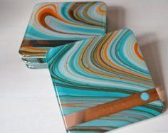Southwest Swirls Fused Glass Coasters