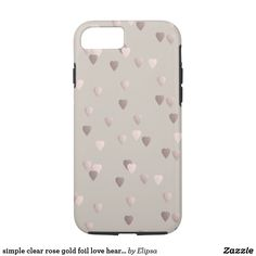 simple clear rose gold foil love hearts, neutral iPhone 7 case
