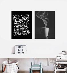 f5c7483aa CONJUNTO Kit 2 Quadros Decorativos Cozinha Café