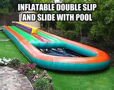 Inflatable double sided slipnslide with a pool