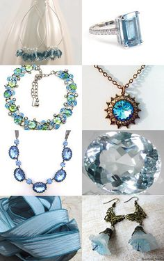 A collection of handmade accessories in gorgeous light blue.