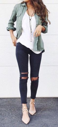 #fall #outfits women's white scoop neck top, green button-up sports shirt and distressed black pants