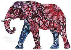 Stylized Elephant - cross stitch pattern designed by Tereena Clarke. Category: Elephant.
