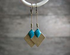 Boucles d'oreilles losanges bronze et bleu-turquoise - Bijoux de créateur haute fantaisie : Boucles d'oreille par joaty