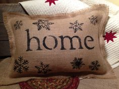 Burlap Pillow, Stenciled Burlap Pillow, Decorative Pillow, Snowflake Burlap Pillow, Decorative Winter Pillow, Home Pillow, Gift ideas