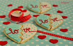 Aqua and red heart cookies -Happy Valentine´s Day!!! by kekaparis (Verónica), via Flickr