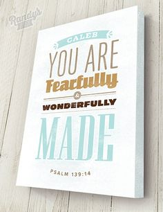 Personalized Bible Verse on Canvas, Psalm 139:14, Christian Art, Rustic Vintage Style, Bible Verse Wall Decor, Premium Canvas