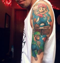 Super Mario Tattoos http://www.altspiration.com/super-mario-tattoos/ #supermario #mario #gaming #tattoo #tattoos #ink #inked #luigi #cool #awesome #nintendo