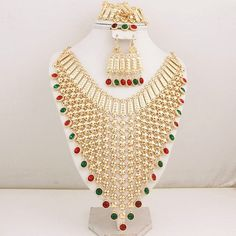 Exclusive Design, Bridal Accessories Exaggerated 18k Gold Plated Rhinestones, African and Indian Necklace Set Item specifics Item Type: Jewelry Sets Fashion: Fashion Included Additional Item Descripti