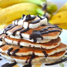 Breakfast And Brunch, Chunky Monkey Pancakes, These Chocolate And Banana Pancakes Are A Delicious Breakfast Treat. Breakfast And Brunch, Breakfast Dishes, Breakfast Recipes, Pancake Recipes, Breakfast Ideas, Brunch Dishes, Pancake Ideas, Brunch Items, Breakfast Plate