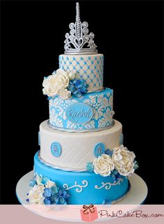 Sweet 16 Princess Cake by Pink Cake Box in Denville, NJ. Wedding Cake Boxes, Big Wedding Cakes, Pretty Cakes, Beautiful Cakes, Amazing Cakes, Sweet Sixteen, Pink Cake Box, Quinceanera Cakes, Sweet 16 Cakes