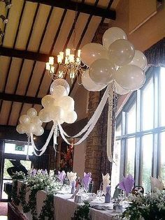 Wedding balloon decorations, balloon arches, using balloons for centerpieces and other great ideas. Buy quality latex balloons and Hi Float Regina Natie ♥ // We laugh, smile, love: Solemnization - Garden Wedding Deco Ideas Part 1 Magical ballon clouds Wedding Balloon Decorations, Wedding Balloons, Banquet Decorations, Wedding Ideas With Balloons, Balloon Ceiling Decorations, Wedding Centerpieces, Banquet Ideas, Balloon Ideas, Hanging Decorations