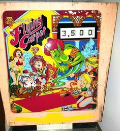 Gottlieb Flying Carpet Pinball Backglass (1972).