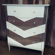 Professionally painted vintage Mid century dresser in white and chevron with a grey wash over the natural wood. Modernized, vintage, refinished furniture from Carver Junk Company. http://www.carverjunkcompany.com