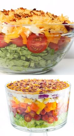Salad Recipe with Mayonnaise (Quick & Easy) – This EASY traditional seven layer salad recipe (aka 7 layer salad) is an overnight layered salad recipe and takes 15 minutes to assemble! Best Salad Recipes, Keto Recipes, Cooking Recipes, Healthy Recipes, Cooking Tips, Easy Salads, Summer Salads, Easy Meals, Nacho Salat