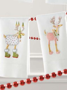 Add a whimsical touch to your home this Christmas with the Patience Brewster Blitzen Dashaway Reindeer Tea Towels that are sure to capture the attention of your guests.