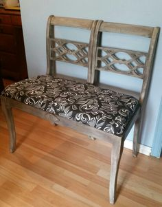 2 chairs made into this bench...barn board finish. A memory foam seat and fabric finish it off.