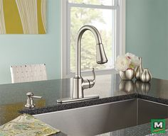 Complement your kitchen with the Moen® Bayhill® Single-Handle Kitchen Faucet. With soft curves and flowing lines, this faucet will fit seamlessly into your busy lifestyle. Equipped with the Reflex™ system, this faucet provides smooth operation, easy movement and secure docking of the pull-down/pull-out spray head. Available in a Spot Resist® Stainless Finish, this faucet resists fingerprints and water spots so your kitchen will always stay clean.