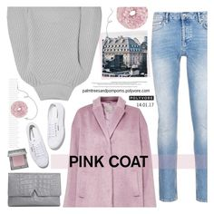 """""""Hey, Girl: Pretty Pink Coats / Great Plains Kitty Cocoon Coat"""" by palmtreesandpompoms ❤ liked on Polyvore featuring Great Plains, Topman, Superga, Iris & Ink, Urban Decay, Vince and pinkcoats"""
