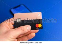 KAUNAS, LITHUANIA - DECEMBER 23, 2017: Closeup view of REVOLUT card. Revolut is a digital banking alternative that - Stock Photo