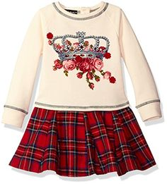 Kate Mack Little Girls Toddler Plaid Princess Crown Dress Multi 4T >>> Visit the image link more details. Note:It is affiliate link to Amazon.