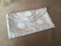 Beaded Brides Purse, La Regale Purse, Beaded Evening Bag, Sequined White Bag, Mid Century Japan, Envelope Style, Iridescent Sequins, Classic - pinned by pin4etsy.com
