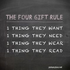 I REALLY like this!!! Check out Katie's post on the Four-Gift-Rule for more information.